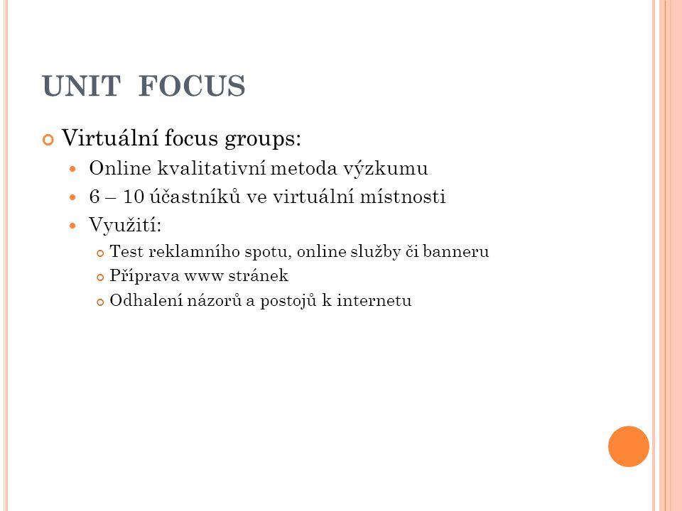 UNIT FOCUS Virtuální focus groups: Online kvalitativní metoda výzkumu 6 – 10 účastníků ve virtuální místnosti Využití: Test reklamního spotu, online s