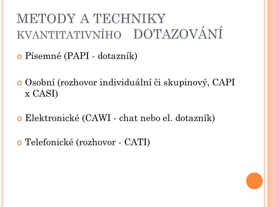 METODY A TECHNIKY KVANTITATIVNÍHO DOTAZOVÁNÍ Písemné (PAPI - dotazník) Osobní (rozhovor individuální či skupinový, CAPI x CASI) Elektronické (CAWI - chat nebo el.
