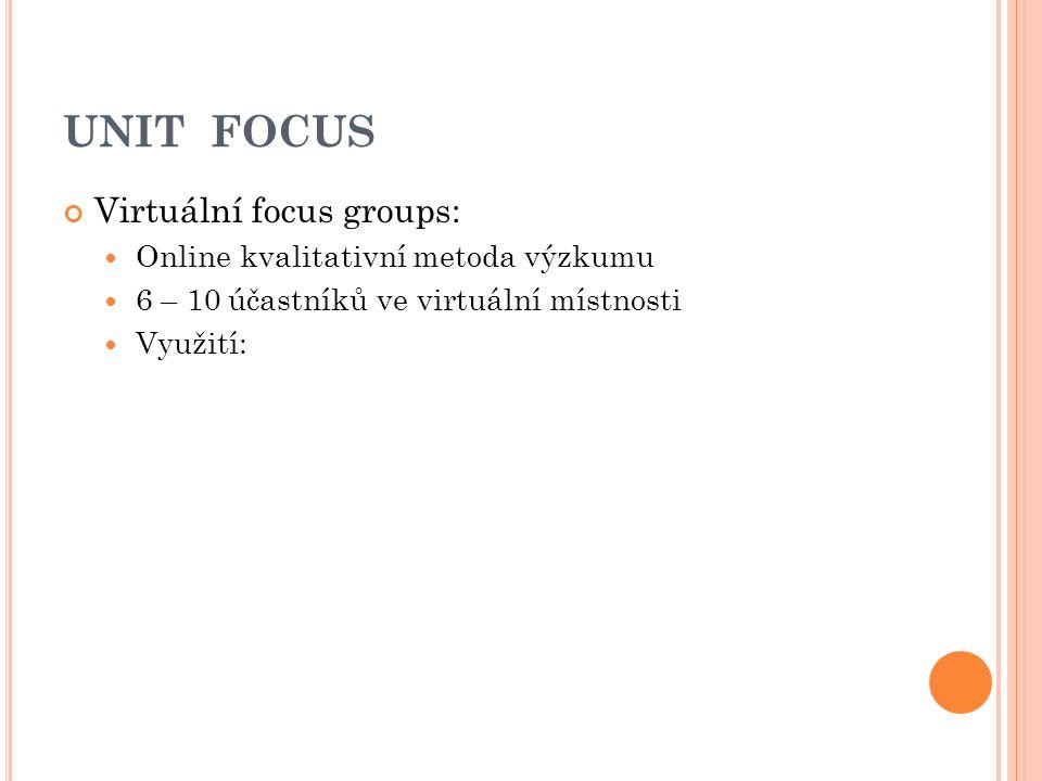 UNIT FOCUS Virtuální focus groups: Online kvalitativní metoda výzkumu 6 – 10 účastníků ve virtuální místnosti Využití: