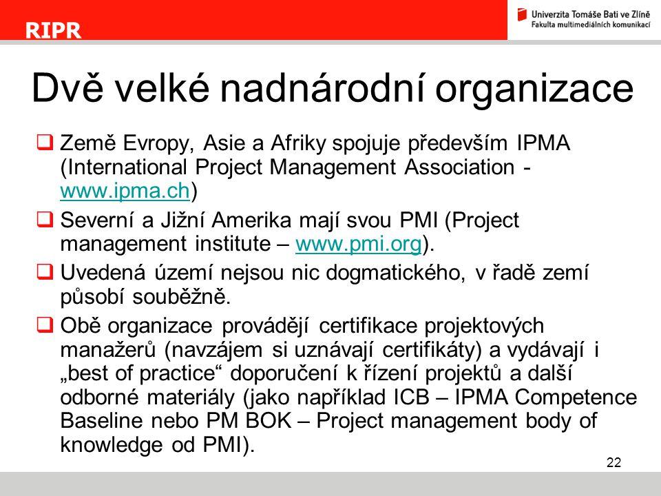 22  Země Evropy, Asie a Afriky spojuje především IPMA (International Project Management Association - www.ipma.ch) www.ipma.ch  Severní a Jižní Amer