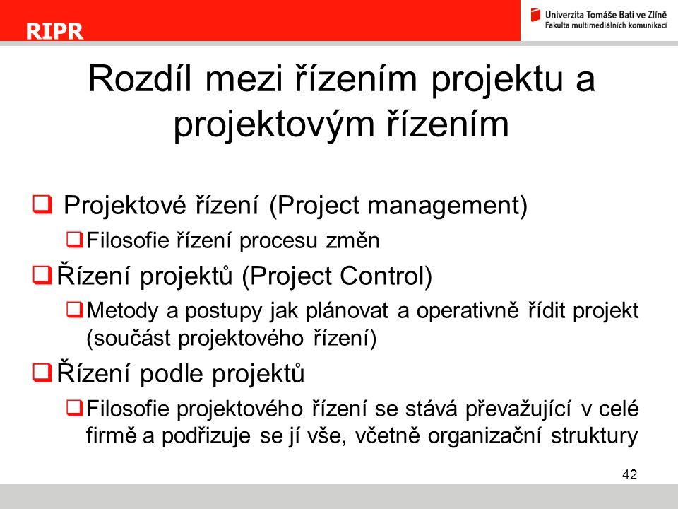 42  Projektové řízení (Project management)  Filosofie řízení procesu změn  Řízení projektů (Project Control)  Metody a postupy jak plánovat a oper