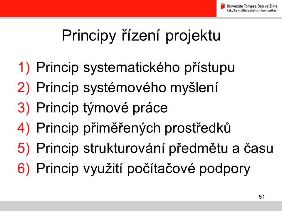 51 Principy řízení projektu 1)Princip systematického přístupu 2)Princip systémového myšlení 3)Princip týmové práce 4)Princip přiměřených prostředků 5)