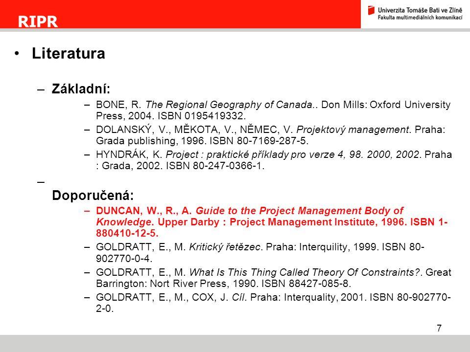 8  Základní pojmy.Projekt. Projektové řízení. Řízení projektu.