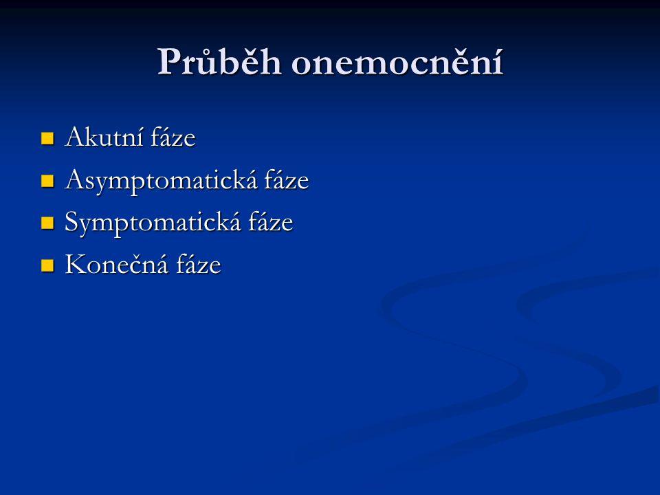 Průběh onemocnění Akutní fáze Akutní fáze Asymptomatická fáze Asymptomatická fáze Symptomatická fáze Symptomatická fáze Konečná fáze Konečná fáze
