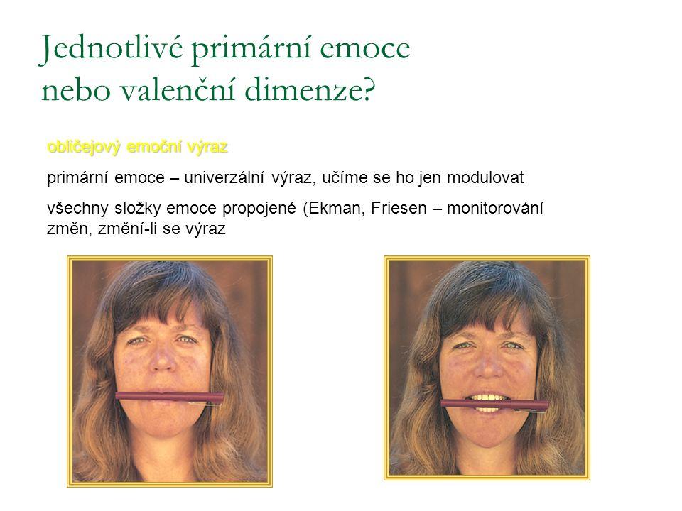 Jednotlivé primární emoce nebo valenční dimenze? obličejový emoční výraz primární emoce – univerzální výraz, učíme se ho jen modulovat všechny složky