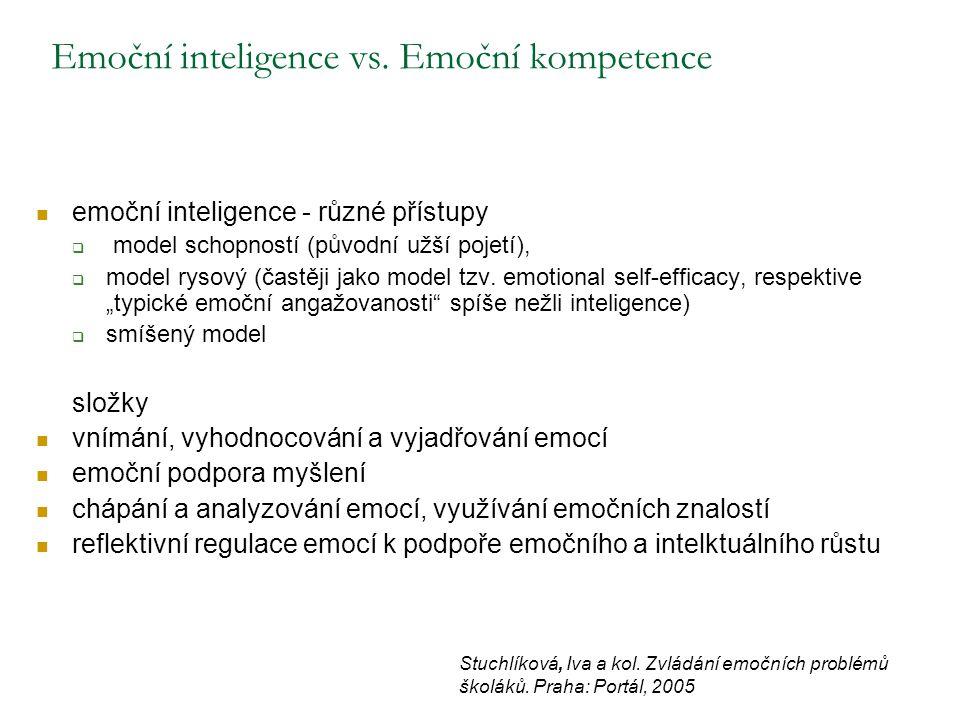 Emoční inteligence vs. Emoční kompetence emoční inteligence - různé přístupy  model schopností (původní užší pojetí),  model rysový (častěji jako mo