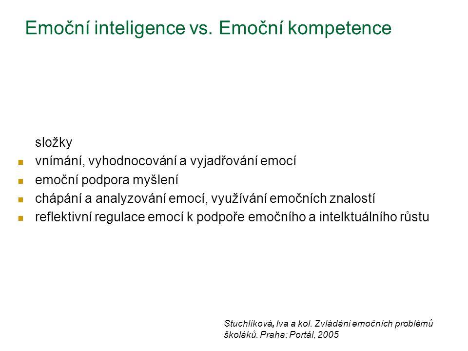 Emoční inteligence vs. Emoční kompetence složky vnímání, vyhodnocování a vyjadřování emocí emoční podpora myšlení chápání a analyzování emocí, využívá