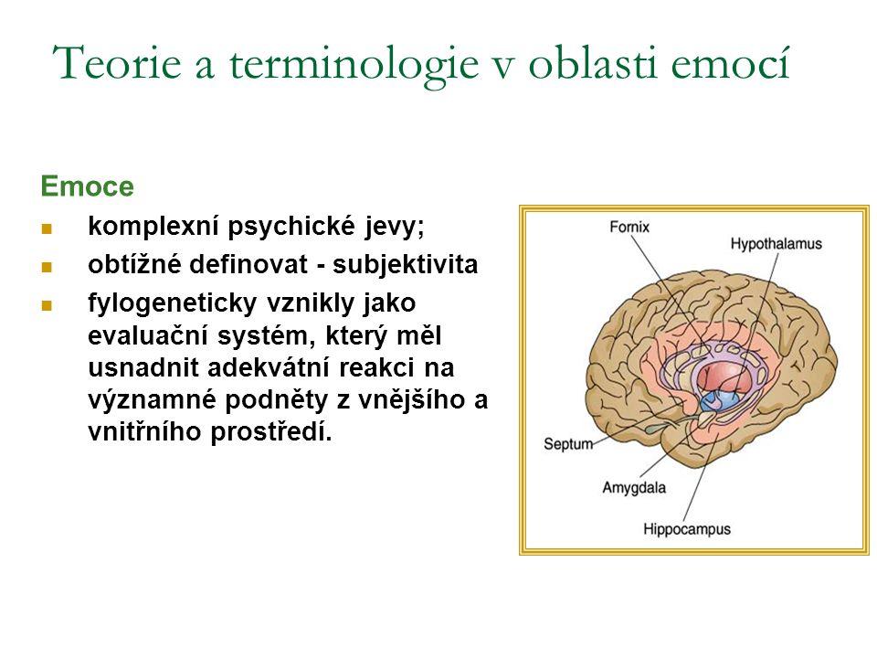 Teorie a terminologie v oblasti emocí Emoce komplexní psychické jevy; obtížné definovat - subjektivita fylogeneticky vznikly jako evaluační systém, který měl usnadnit adekvátní reakci na významné podněty z vnějšího a vnitřního prostředí.