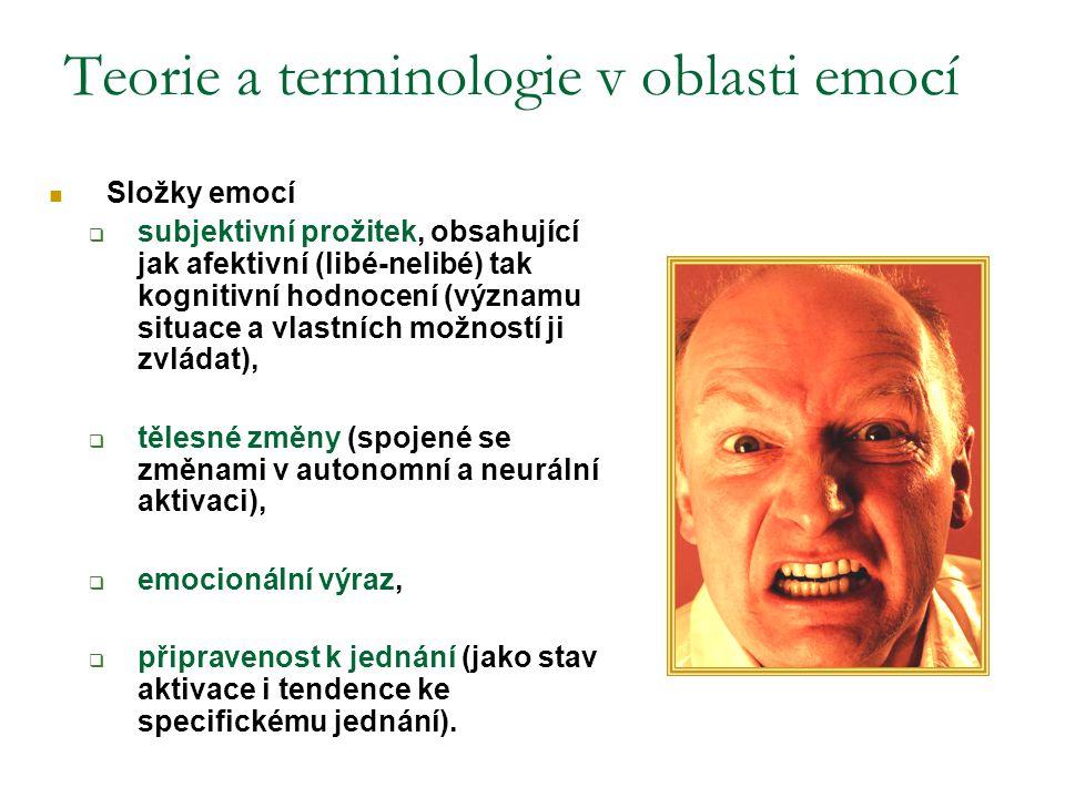 Teorie a terminologie v oblasti emocí Složky emocí  subjektivní prožitek, obsahující jak afektivní (libé-nelibé) tak kognitivní hodnocení (významu situace a vlastních možností ji zvládat),  tělesné změny (spojené se změnami v autonomní a neurální aktivaci),  emocionální výraz,  připravenost k jednání (jako stav aktivace i tendence ke specifickému jednání).
