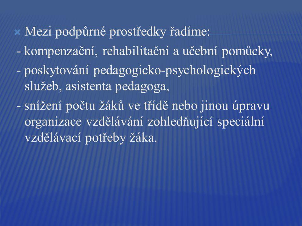  Mezi podpůrné prostředky řadíme: - kompenzační, rehabilitační a učební pomůcky, - poskytování pedagogicko-psychologických služeb, asistenta pedagoga