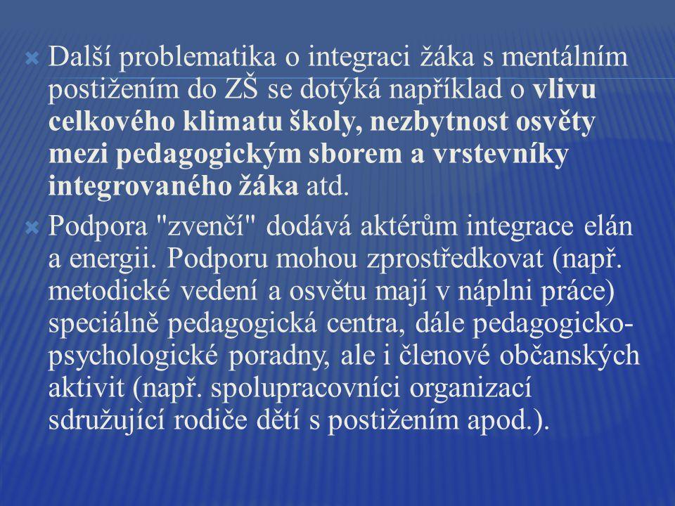  Další problematika o integraci žáka s mentálním postižením do ZŠ se dotýká například o vlivu celkového klimatu školy, nezbytnost osvěty mezi pedagogickým sborem a vrstevníky integrovaného žáka atd.