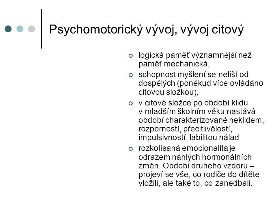 Psychomotorický vývoj, vývoj citový logická paměť významnější než paměť mechanická, schopnost myšlení se neliší od dospělých (poněkud více ovládáno citovou složkou), v citové složce po období klidu v mladším školním věku nastává období charakterizované neklidem, rozporností, přecitlivělostí, impulsivností, labilitou nálad rozkolísaná emocionalita je odrazem náhlých hormonálních změn.