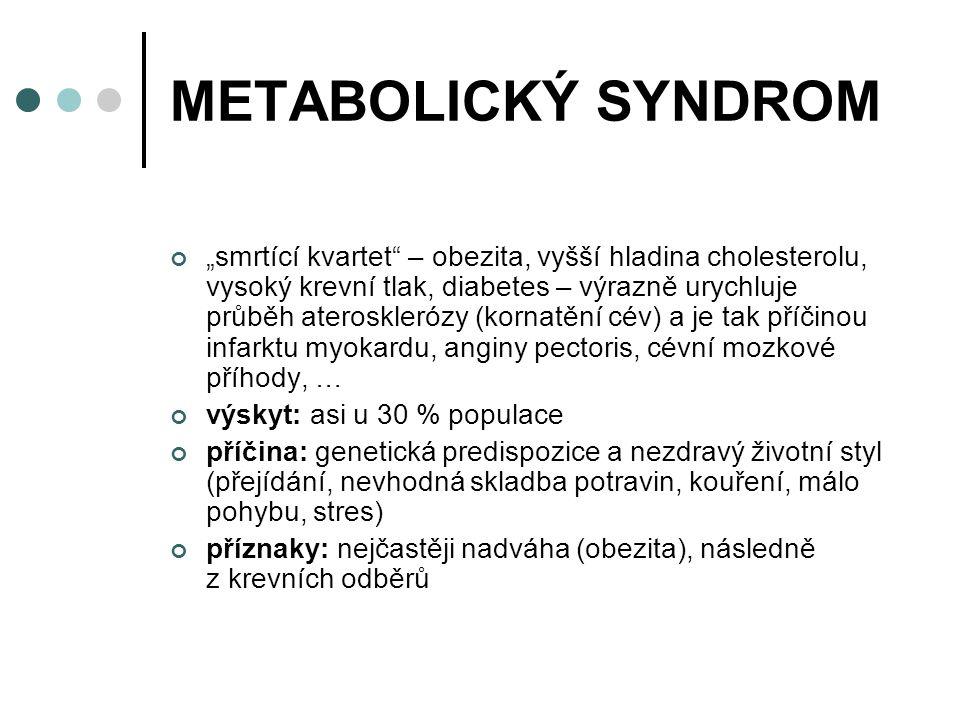 """METABOLICKÝ SYNDROM """"smrtící kvartet – obezita, vyšší hladina cholesterolu, vysoký krevní tlak, diabetes – výrazně urychluje průběh aterosklerózy (kornatění cév) a je tak příčinou infarktu myokardu, anginy pectoris, cévní mozkové příhody, … výskyt: asi u 30 % populace příčina: genetická predispozice a nezdravý životní styl (přejídání, nevhodná skladba potravin, kouření, málo pohybu, stres) příznaky: nejčastěji nadváha (obezita), následně z krevních odběrů"""