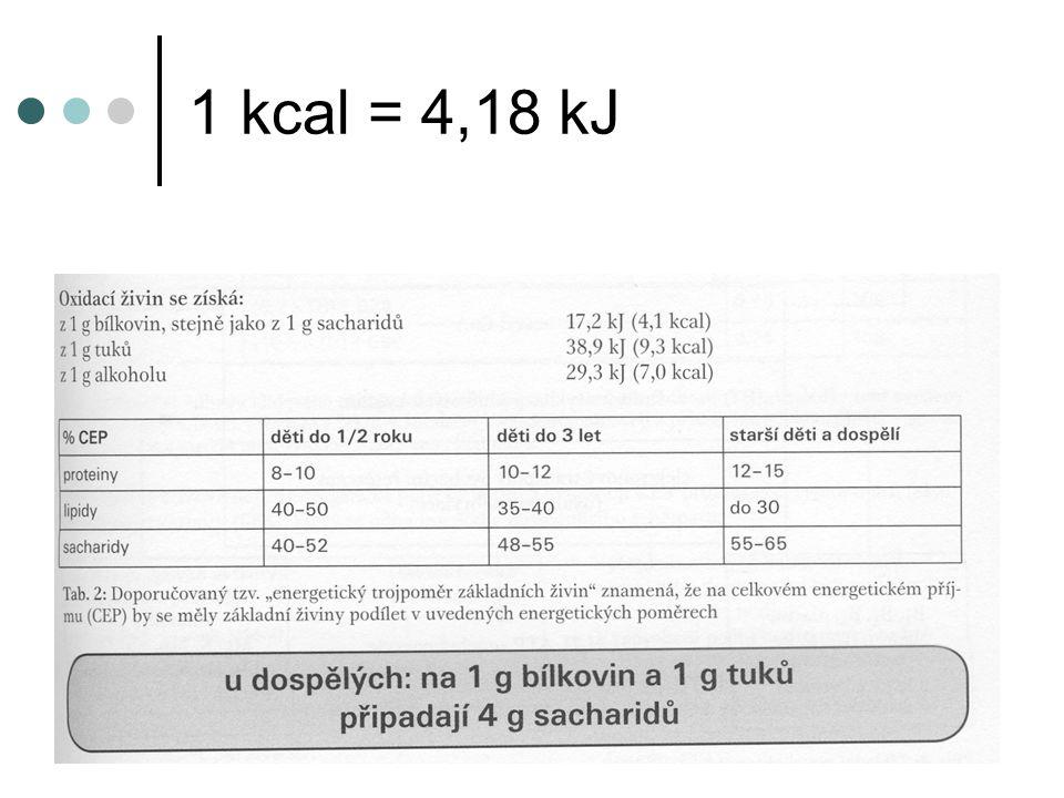 1 kcal = 4,18 kJ