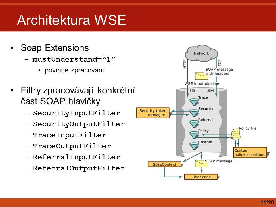 Architektura WSE Soap Extensions –mustUnderstand= 1 povinné zpracování Filtry zpracovávají konkrétní část SOAP hlavičky –SecurityInputFilter –SecurityOutputFilter –TraceInputFilter –TraceOutputFilter –ReferralInputFilter –ReferralOutputFilter 11/20