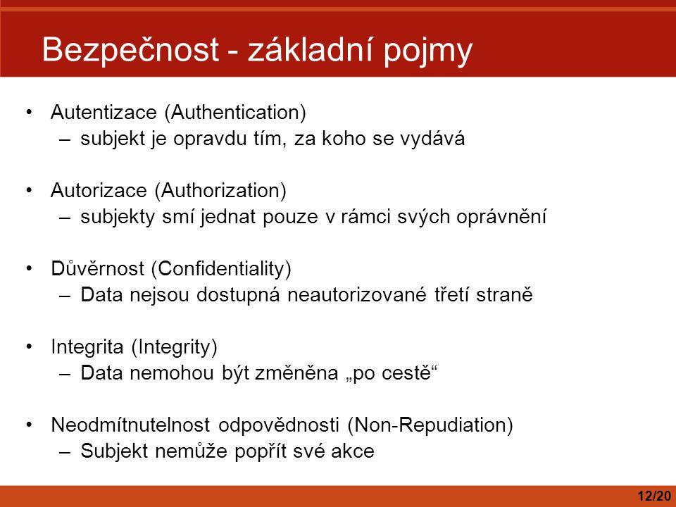 """Bezpečnost - základní pojmy Autentizace (Authentication) –subjekt je opravdu tím, za koho se vydává Autorizace (Authorization) –subjekty smí jednat pouze v rámci svých oprávnění Důvěrnost (Confidentiality) –Data nejsou dostupná neautorizované třetí straně Integrita (Integrity) –Data nemohou být změněna """"po cestě Neodmítnutelnost odpovědnosti (Non-Repudiation) –Subjekt nemůže popřít své akce 12/20"""
