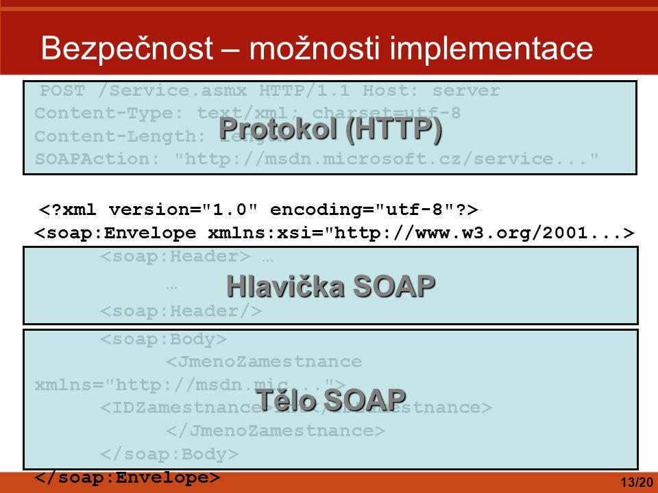Bezpečnost – možnosti implementace 13/20 POST /Service.asmx HTTP/1.1 Host: server Content-Type: text/xml; charset=utf-8 Content-Length: length SOAPAction: http://msdn.microsoft.cz/service... … int Protokol (HTTP) Hlavička SOAP Tělo SOAP