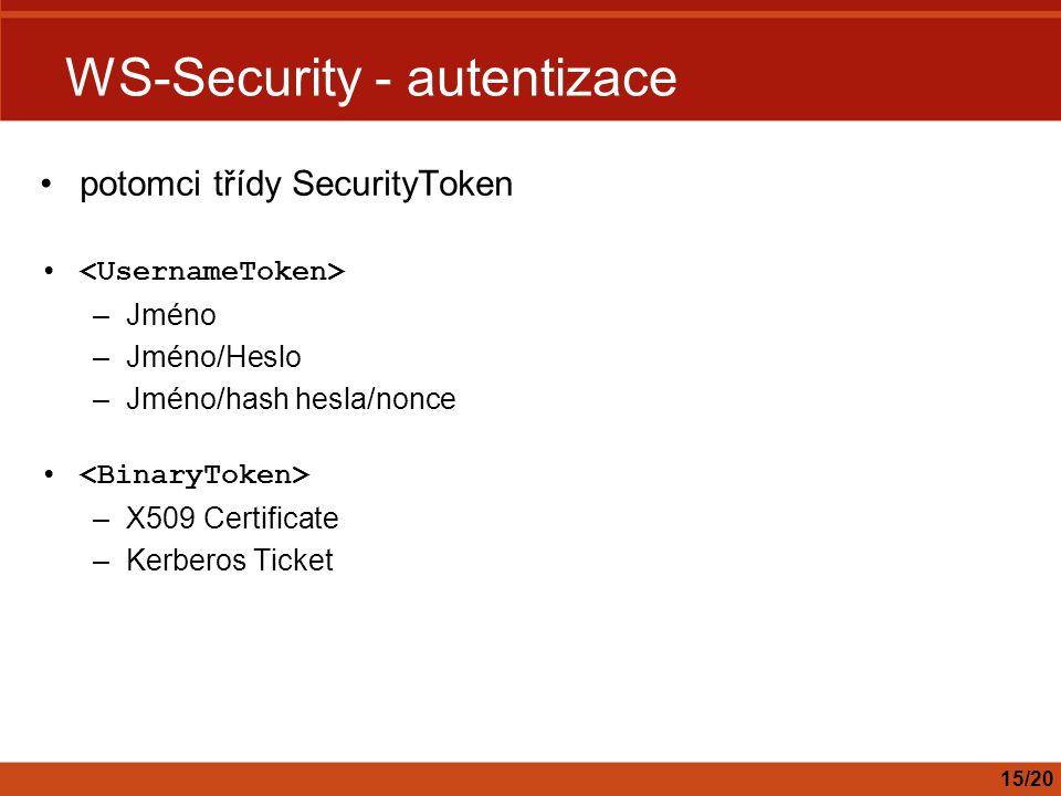 WS-Security - autentizace potomci třídy SecurityToken –Jméno –Jméno/Heslo –Jméno/hash hesla/nonce –X509 Certificate –Kerberos Ticket 15/20