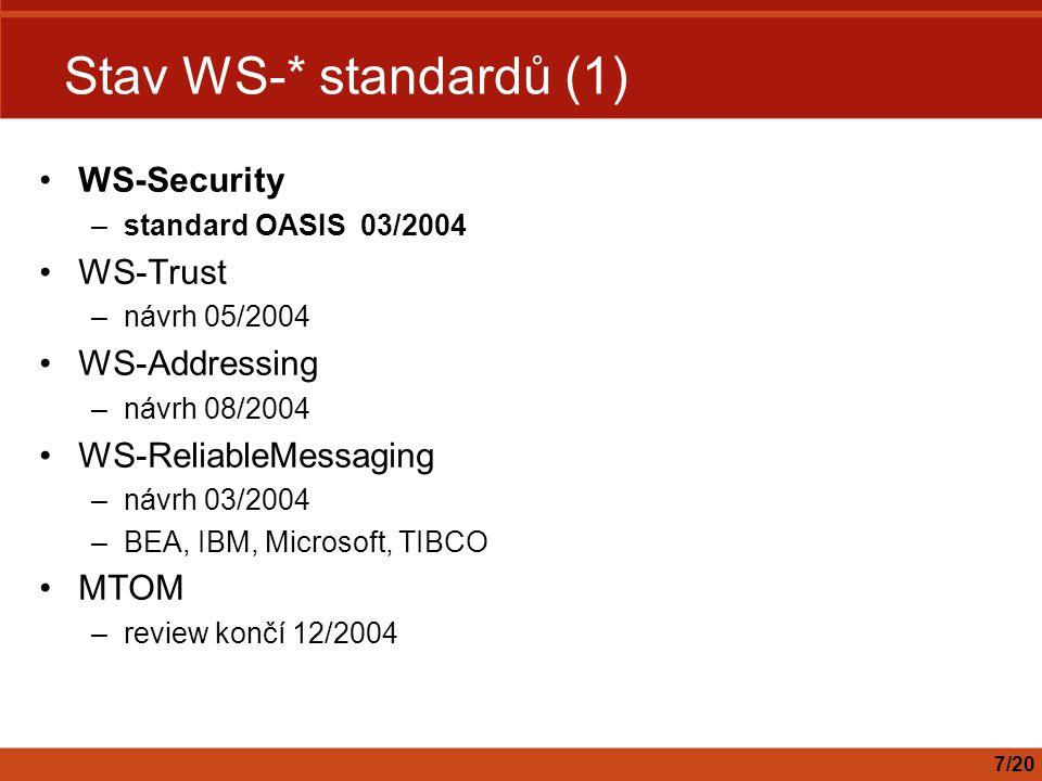Stav WS-* standardů (1) WS-Security –standard OASIS 03/2004 WS-Trust –návrh 05/2004 WS-Addressing –návrh 08/2004 WS-ReliableMessaging –návrh 03/2004 –BEA, IBM, Microsoft, TIBCO MTOM –review končí 12/2004 7/20