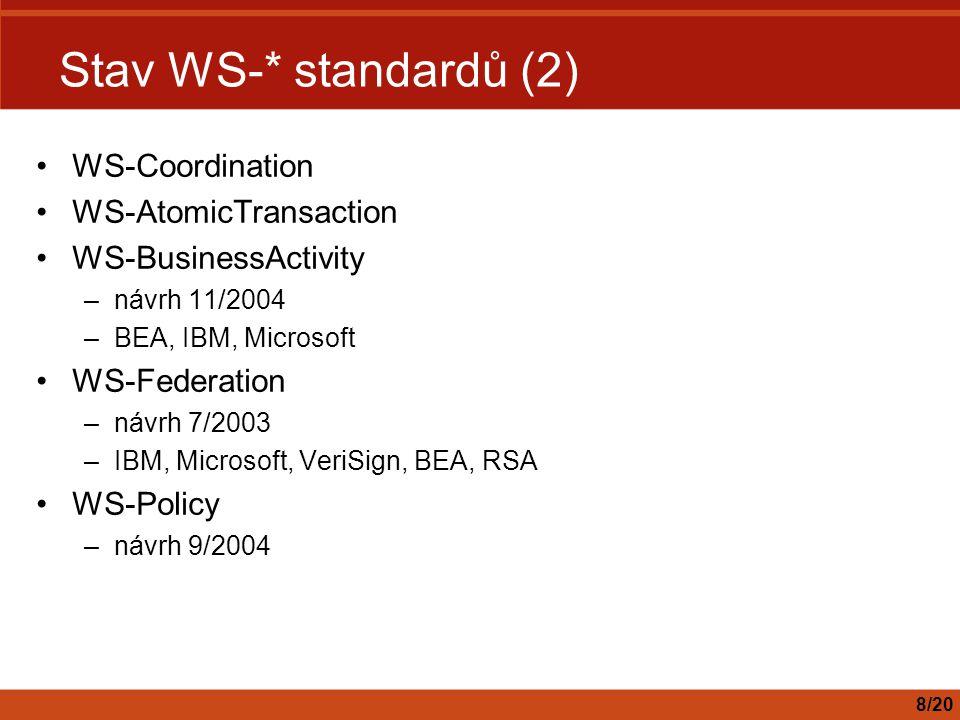 Stav WS-* standardů (2) WS-Coordination WS-AtomicTransaction WS-BusinessActivity –návrh 11/2004 –BEA, IBM, Microsoft WS-Federation –návrh 7/2003 –IBM, Microsoft, VeriSign, BEA, RSA WS-Policy –návrh 9/2004 8/20