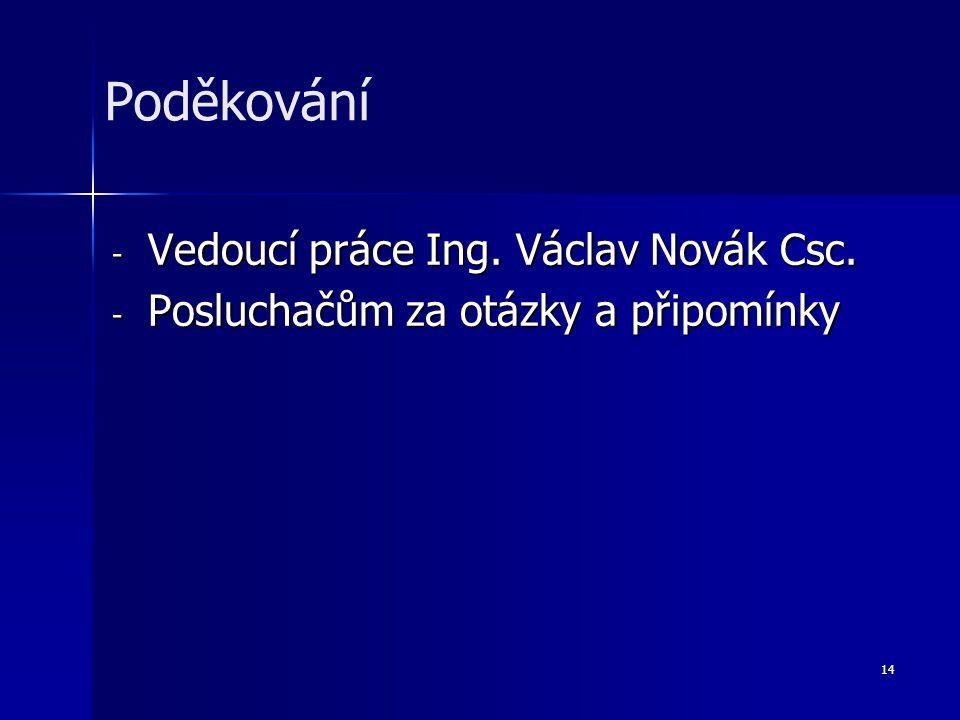 14 - Vedoucí práce Ing. Václav Novák Csc. - Posluchačům za otázky a připomínky Poděkování