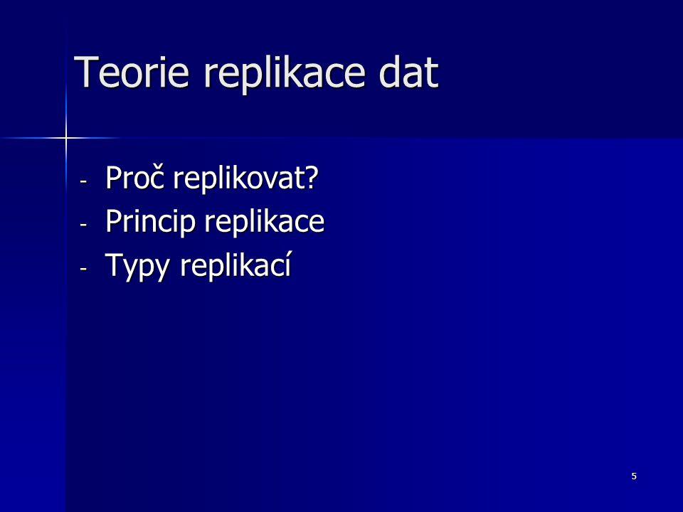 5 - Proč replikovat? - Princip replikace - Typy replikací Teorie replikace dat