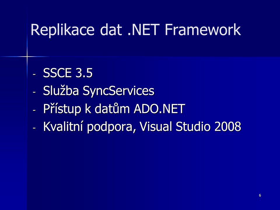 6 - SSCE 3.5 - Služba SyncServices - Přístup k datům ADO.NET - Kvalitní podpora, Visual Studio 2008 Replikace dat.NET Framework