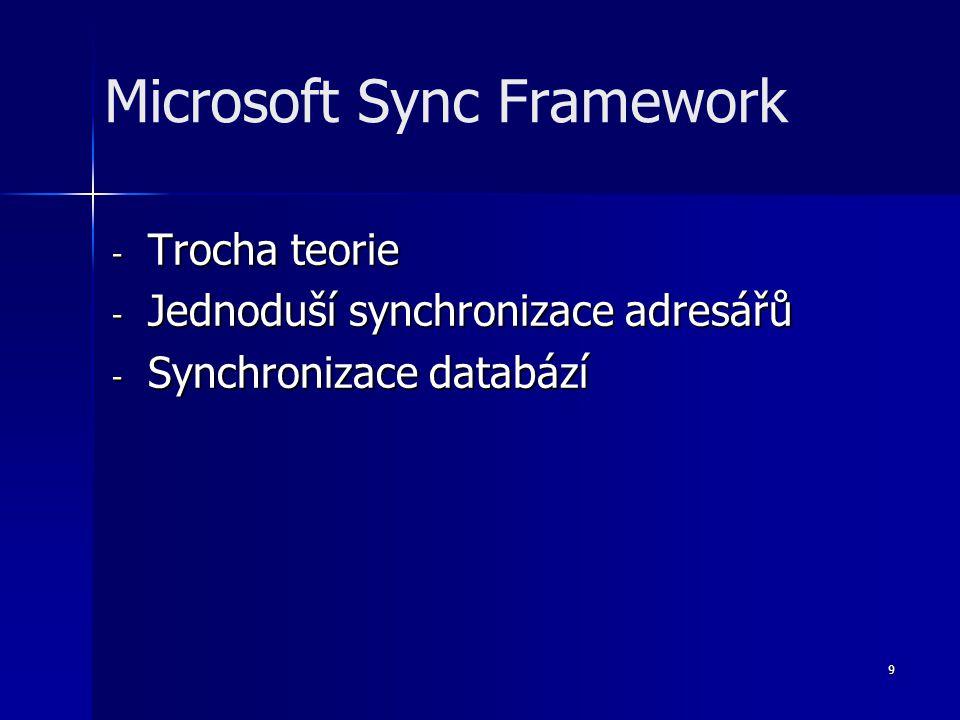 9 - Trocha teorie - Jednoduší synchronizace adresářů - Synchronizace databází Microsoft Sync Framework