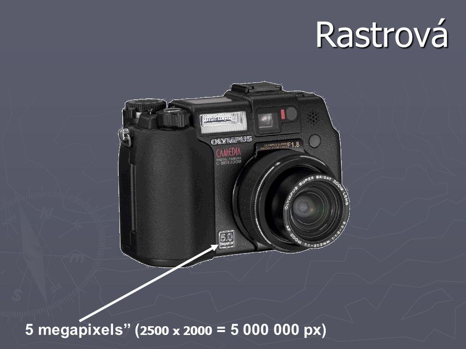 """5 megapixels"""" ( 2500 x 2000 = 5 000 000 px) Rastrová"""