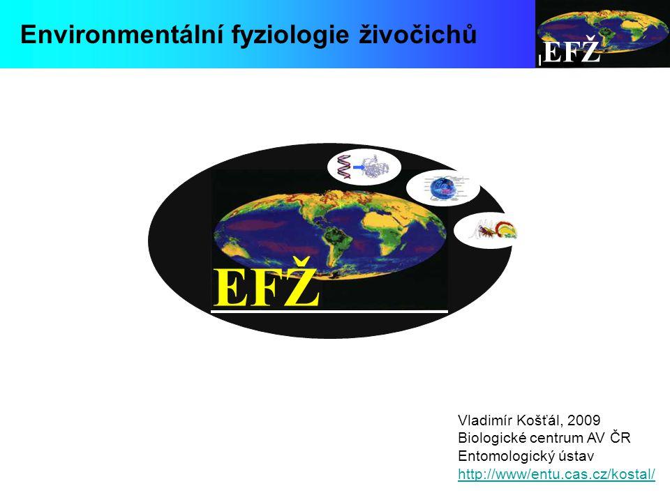 EFŽ Environmentální fyziologie živočichů Vladimír Košťál, 2009 Biologické centrum AV ČR Entomologický ústav http://www/entu.cas.cz/kostal/