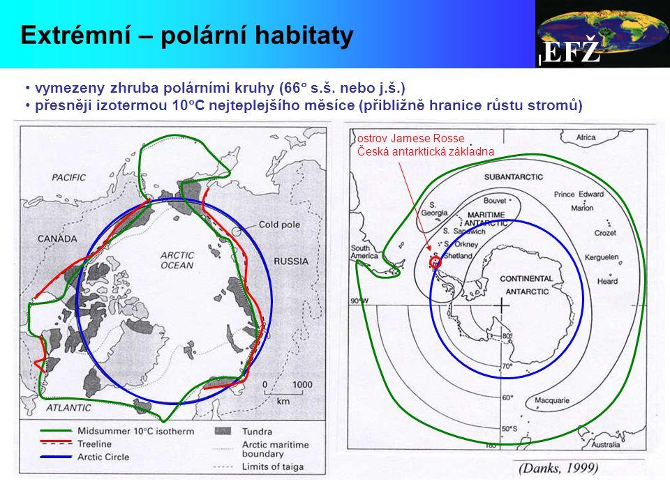 EFŽ Extrémní – polární habitaty vymezeny zhruba polárními kruhy (66  s.š.