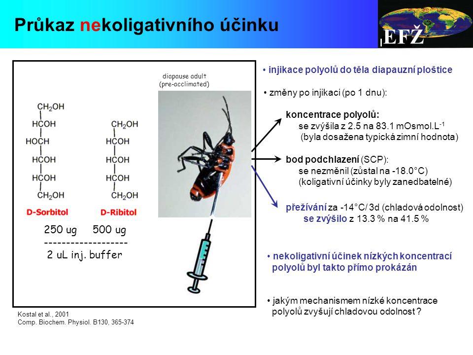 EFŽ Průkaz nekoligativního účinku 250 ug 500 ug ------------------- 2 uL inj.