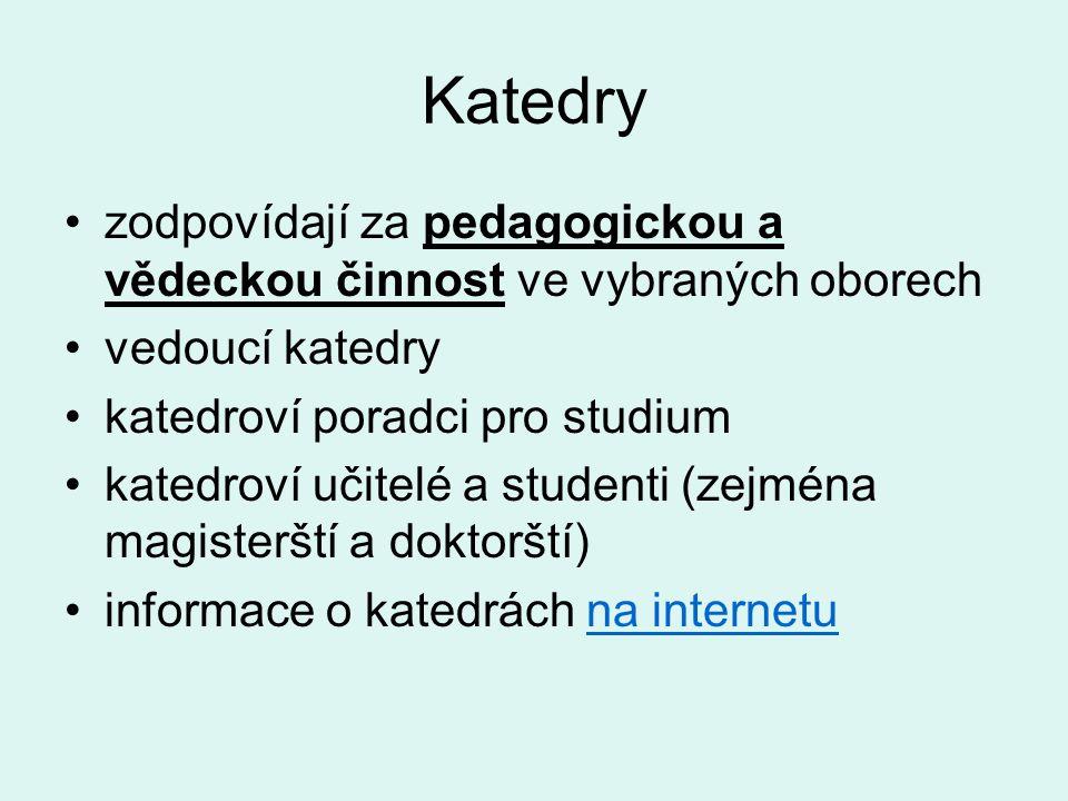 Katedry zodpovídají za pedagogickou a vědeckou činnost ve vybraných oborech vedoucí katedry katedroví poradci pro studium katedroví učitelé a studenti (zejména magisterští a doktorští) informace o katedrách na internetuna internetu