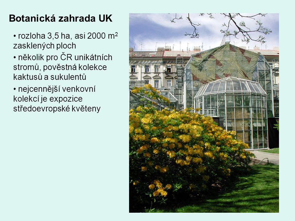 Botanická zahrada UK rozloha 3,5 ha, asi 2000 m 2 zasklených ploch několik pro ČR unikátních stromů, pověstná kolekce kaktusů a sukulentů nejcennější venkovní kolekcí je expozice středoevropské květeny