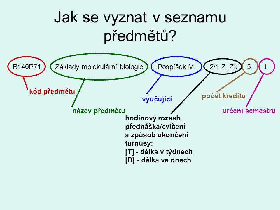Jak se vyznat v seznamu předmětů? B140P71 Základy molekulární biologie Pospíšek M. 2/1 Z, Zk 5 L kód předmětu název předmětu vyučující hodinový rozsah