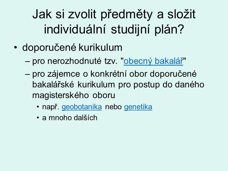 Jak si zvolit předměty a složit individuální studijní plán.