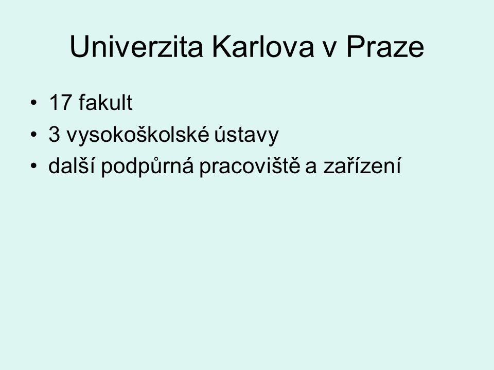 Univerzita Karlova v Praze 17 fakult 3 vysokoškolské ústavy další podpůrná pracoviště a zařízení
