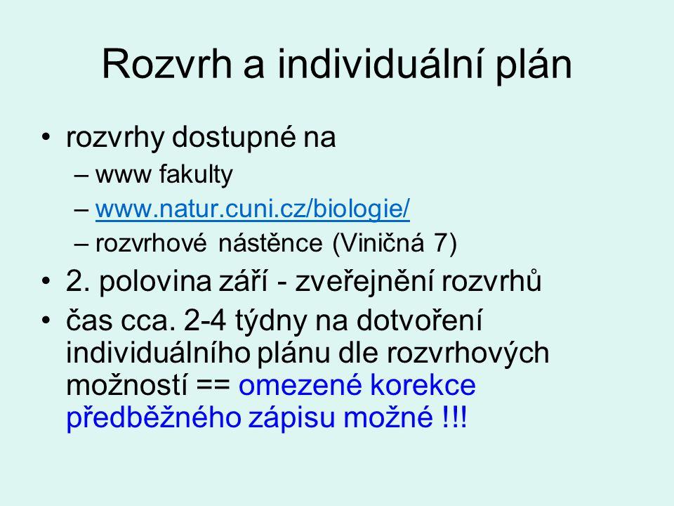Rozvrh a individuální plán rozvrhy dostupné na –www fakulty –www.natur.cuni.cz/biologie/www.natur.cuni.cz/biologie/ –rozvrhové nástěnce (Viničná 7) 2.