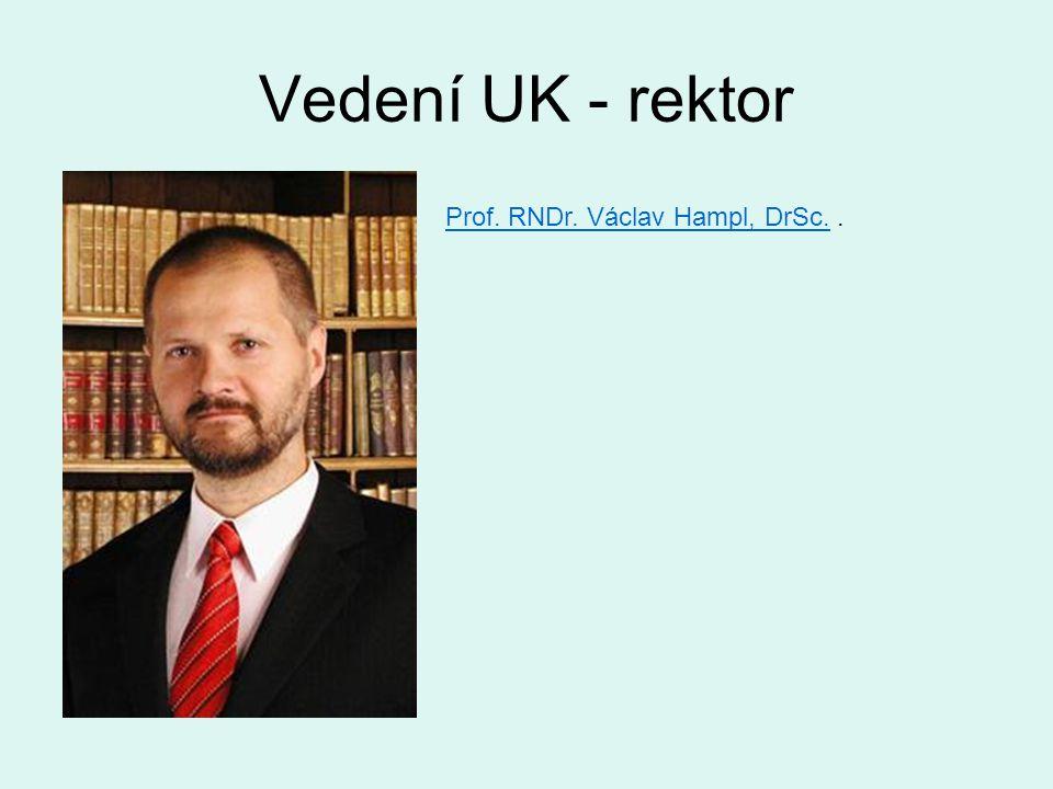 Vedení UK - rektor Prof. RNDr. Václav Hampl, DrSc.Prof. RNDr. Václav Hampl, DrSc..