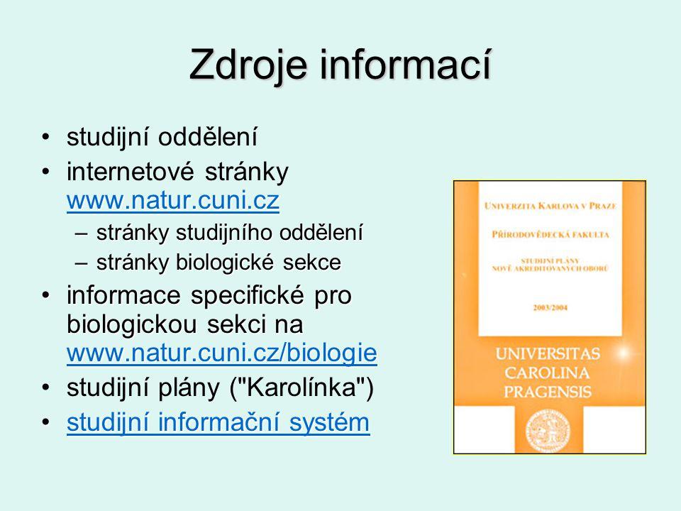 Zdroje informací studijní oddělení www.natur.cuni.cz www.natur.cuni.czinternetové stránky www.natur.cuni.cz www.natur.cuni.cz –stránky studijního oddě