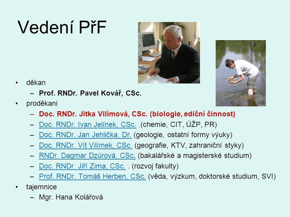 Vedení PřF děkan –Prof.RNDr. Pavel Kovář, CSc. proděkani –Doc.