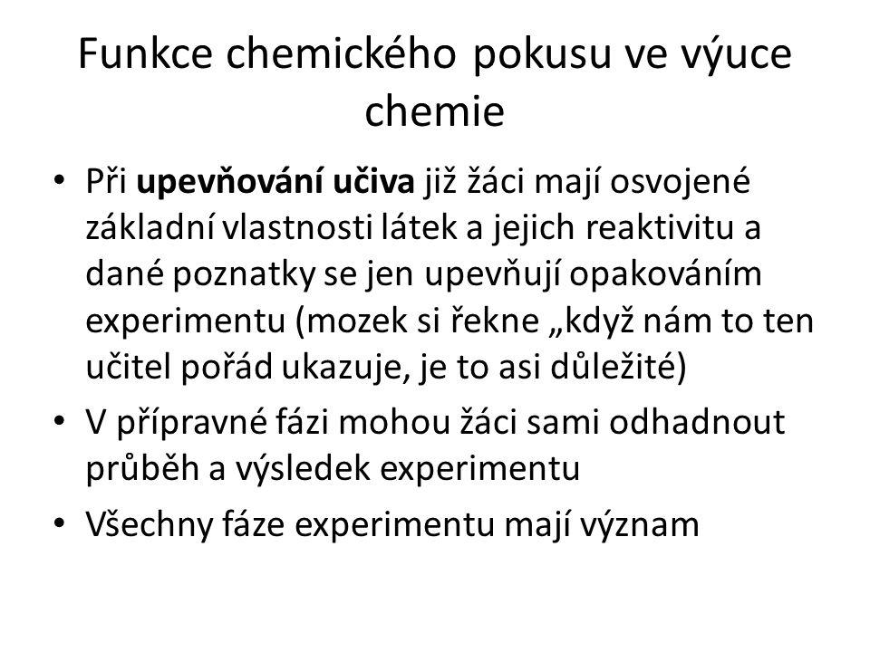 """Funkce chemického pokusu ve výuce chemie Při upevňování učiva již žáci mají osvojené základní vlastnosti látek a jejich reaktivitu a dané poznatky se jen upevňují opakováním experimentu (mozek si řekne """"když nám to ten učitel pořád ukazuje, je to asi důležité) V přípravné fázi mohou žáci sami odhadnout průběh a výsledek experimentu Všechny fáze experimentu mají význam"""