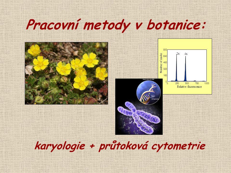 0 160 320 480 640 800 02505007501000 2x 4x Relative fluorescence Number of nuclei Pracovní metody v botanice: karyologie + průtoková cytometrie