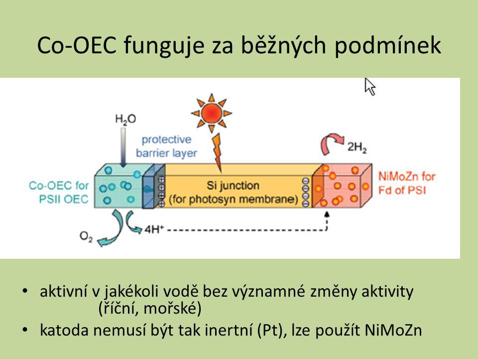 Co-OEC funguje za běžných podmínek aktivní v jakékoli vodě bez významné změny aktivity (říční, mořské) katoda nemusí být tak inertní (Pt), lze použít