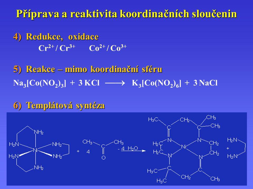 Příprava a reaktivita koordinačních sloučenin 4) Redukce, oxidace Cr 2+ / Cr 3+ Co 2+ / Co 3+. 5) Reakce – mimo koordinační sféru Na 3 [Co(NO 2 ) 3 ]