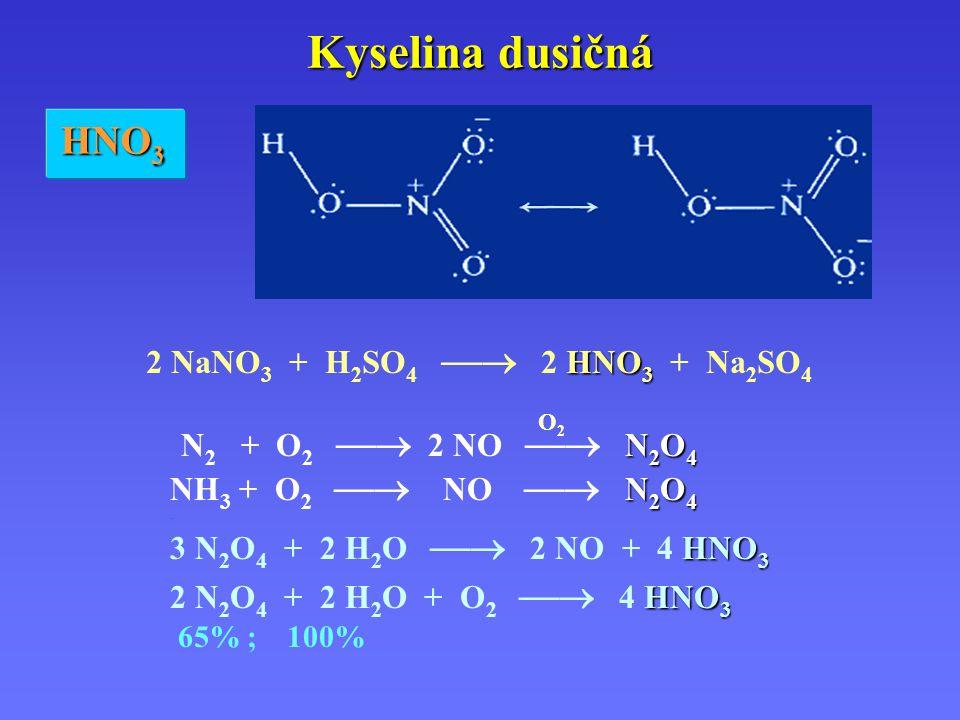 Kyselina dusičná N 2 O 4 O 2 N 2 + O 2  2 NO  N 2 O 4 N 2 O 4 NH 3 + O 2  NO  N 2 O 4.