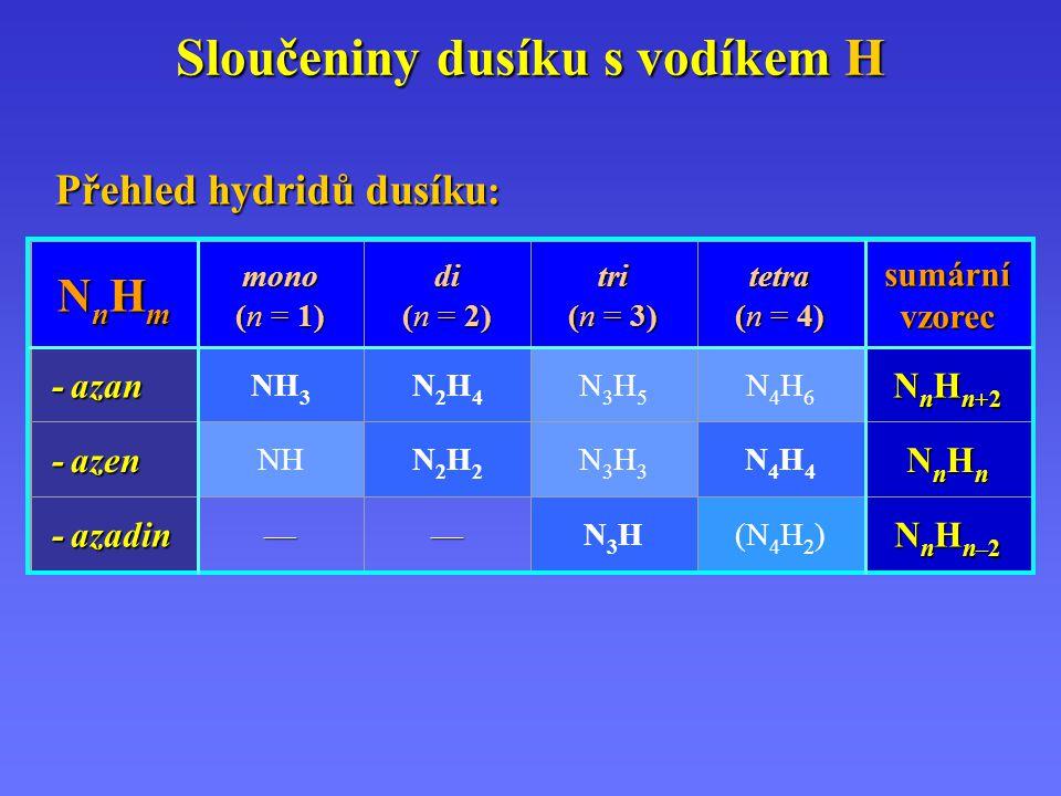 Sloučeniny dusíku s vodíkem H Přehled hydridů dusíku : NnHmNnHmNnHmNnHm mono (n = 1) di (n = 2) tri (n = 3) tetra (n = 4) sumární vzorec - azan - azan NH 3 N2H4N2H4 N3H5N3H5 N4H6N4H6 N n H n+2 - azen - azen NHN2H2N2H2 N3H3N3H3 N4H4N4H4 NnHnNnHnNnHnNnHn - azadin - azadin——N3HN3H(N 4 H 2 ) N n H n–2
