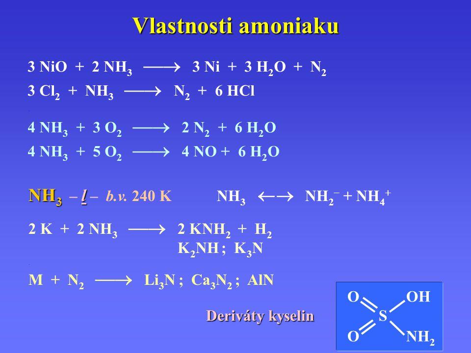 Vlastnosti amoniaku NH 3 l NH 3 – l – b.v.