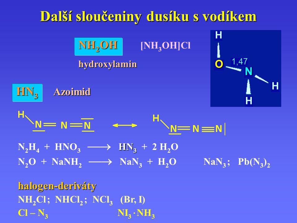 Další sloučeniny dusíku s vodíkem HN 3 N 2 H 4 + HNO 3  HN 3 + 2 H 2 O N 2 O + NaNH 2  NaN 3 + H 2 O NaN 3 ; Pb(N 3 ) 2 NH 2 OH NH 2 OH [NH 3 OH]Clhydroxylamin HN 3 Azoimid halogen-deriváty NH 2 Cl ; NHCl 2 ; NCl 3 (Br, I) Cl – N 3 NI 3 · NH 3 H H H N O 1,47