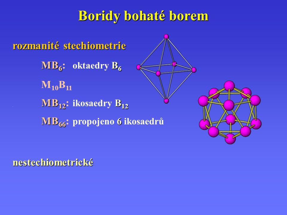 Boridy bohaté borem rozmanité stechiometrie MB 6 B 6 MB 6 : oktaedry B 6 M 10 B 11 MB 12 B 12. MB 12 : ikosaedry B 12 MB 66 6 MB 66 : propojeno 6 ikos